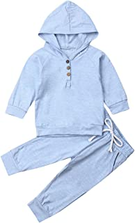 Bowanadacles Newborn Infant Baby boy Girl Sweatsuit Long Sleeve Hooded Sweatshirt Pants 2Pcs Winter Outfit Clothes