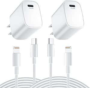 Fast Charger iPhone 13 [MFi Certified] 2 Pack 20W PD USB C Wall Charger with 6FT Type C to Lightning Cable Fast Charging Adapter Compatible with iPhone 12/13Pro Max/12 Mini/11 Pro Max/XS Max/XR