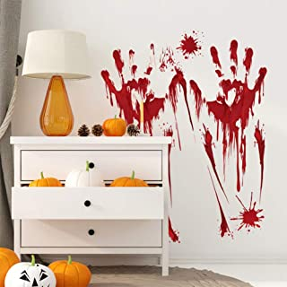 AKDSteel Halloween Paster Bloody Footprints/Fingermark Terror Blood Wall Sticker for Decoration Parties Fingermark Hallowe...