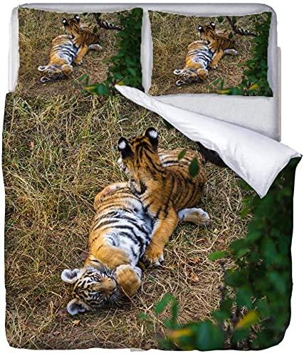YANHUA Juego de cama 3D con diseño de tigre con animales y hojas verdes, funda nórdica transpirable con cremallera, para niños, niñas (135 x 200 cm)