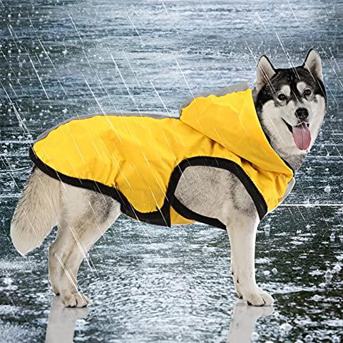 Idepet 2-in-1 giacca impermeabile per cani impermeabile, tuta leggera per animali domestici poncho antipioggia traspirante a copertura totale con cappuccio per cani di taglia media (L, Giallo)