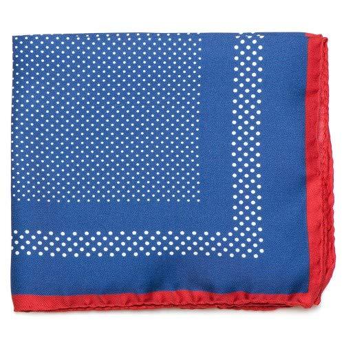 Gemelolandia Pañuelo de traje Ox & Bull Navy Dotted Silk with Red Trim Diseño original para Usar con Traje o Americana - Da un toque elegante y Sofisticado al look