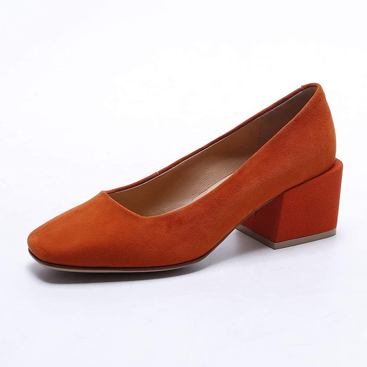 AN Womens Chunky Heels Low-Cut Uppers Imitated Suede Pumps shoes DGU00926
