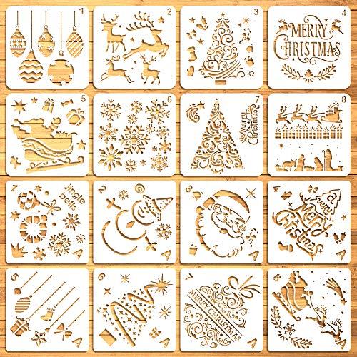 Moruska 16 Stencils Kerstmis Tekening sjablonen voor het schilderen op hout Cookies venster glazen deur muur - Herbruikbare Kerstmis Stencils Vrolijk Kerstmis Drie Rendier Kerstman Geboorte Sneeuwvlokken