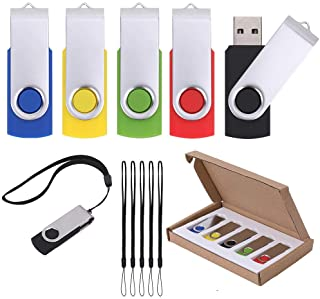 Vellgo 5 x 64GB Classic Swivel USB Flash Drive for Data Storage, USB Thumb Drive with Lanyard, USB2.0 Memory Stick (5pack 64GB, Multicolored)