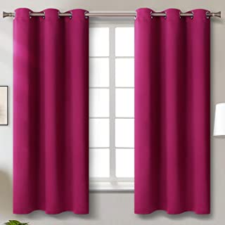 BGment Blackout Curtains for Living Room - Grommet Thermal Insulated Room Darkening Curtains for Bedroom, Set of 2 Panels (42 x 63 Inch, Fuschia)
