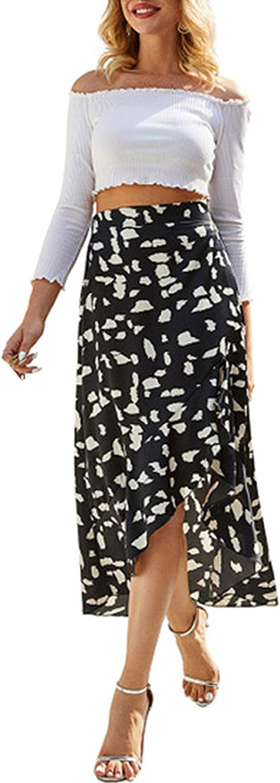 Women's Asymmetrical Casual Boho High Waisted Wrap Split Floral Maxi Skirts