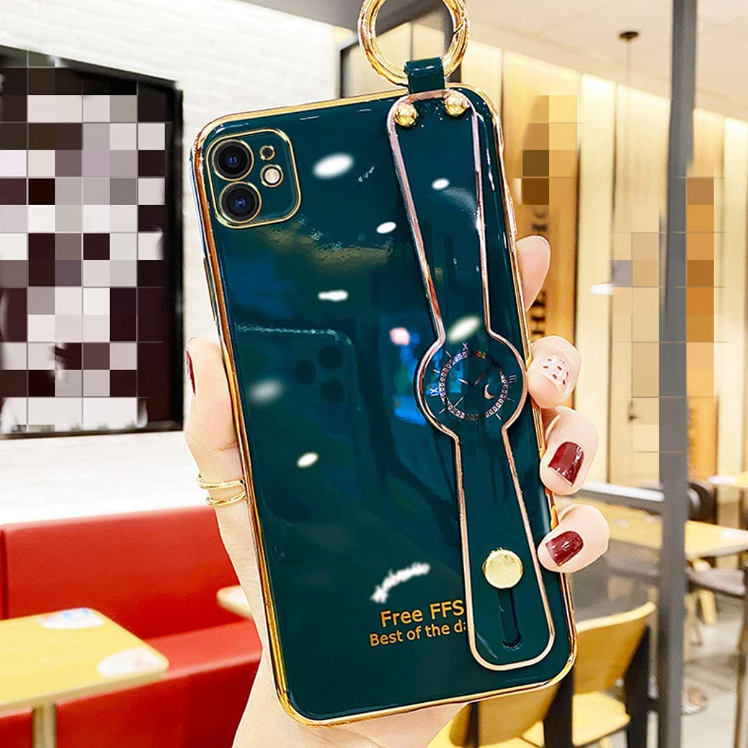 ISYSUII Plating Case for Samsung Galaxy A12 with Wrist Strap Band Kickstand and Crossbody Lanyard for Women Girls Shiny Cute Pretty Protective Cover Anti-Scratch Flexible Case,Dark Green
