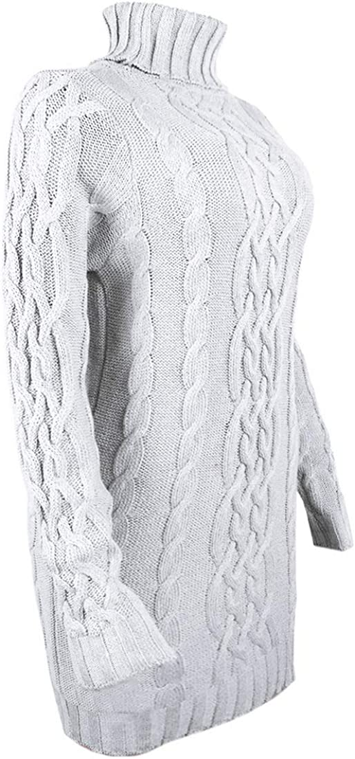 DOZZIOR Chunky Cable Knit Pullover Sweaters for Women Turtleneck Long Sleeve Jumper Sweatshirt Dress Tops