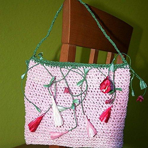 romantische Handtasche aus rosa Papiergarn