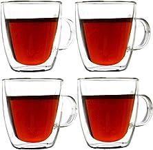 أكواب القهوة مزدوجة الجدار 5 أوقية أكواب زجاجية معزولة مع مقبض مجموعة من 4 لشرب الشاي ، لاتيه اسبرسو ، عصير أو ماء