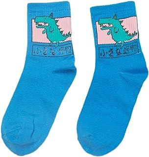 Cuigu 1par de Larga Calcetines de algodón para Mujeres niñas Calcetines Hip Hop drôle de Historieta Dinosaurio Caracteres japonés Ropa Accesorios, algodón, Azul, Medium