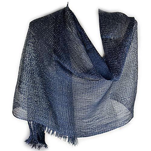 Emila Stola cerimonia coprispalle elegante a rete con frange foulard scialle grande sciarpa lurex da matrimonio per abito da sera giorno primavera estate 2021 estivo Blu laminato