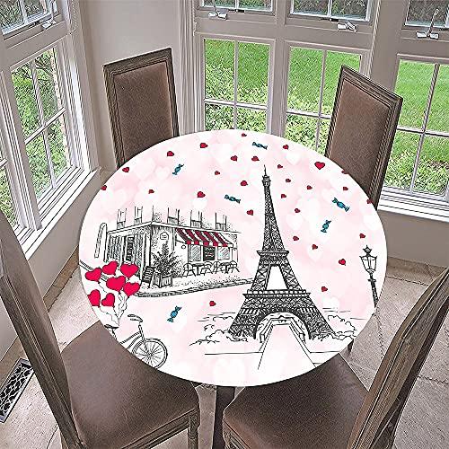 FANSU Impermeable Redondo Mantel con Borde Elástico, 3D Impresión Elástica Ajustada Cubierta de Mesa para Picnic Comedor Cocina Restaurante Cena (Tienda de golosinas,Diámetro 150cm)