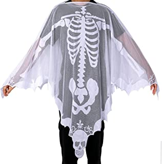 Halloween White Lace Skeleton Poncho for Women, Day of The Dead Costume, Skeleton Costume 60 x 60 Inch