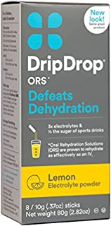 DripDrop ORS Electrolyte Hydration Powder Sticks, Lemon, 10g, 8 Count (Pack of 4)