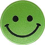 ELLU Parche de Cara Sonriente Verde para Planchar en Coser Camiseta, Vestido, Bolsa de Jeans, Insignia Bordada