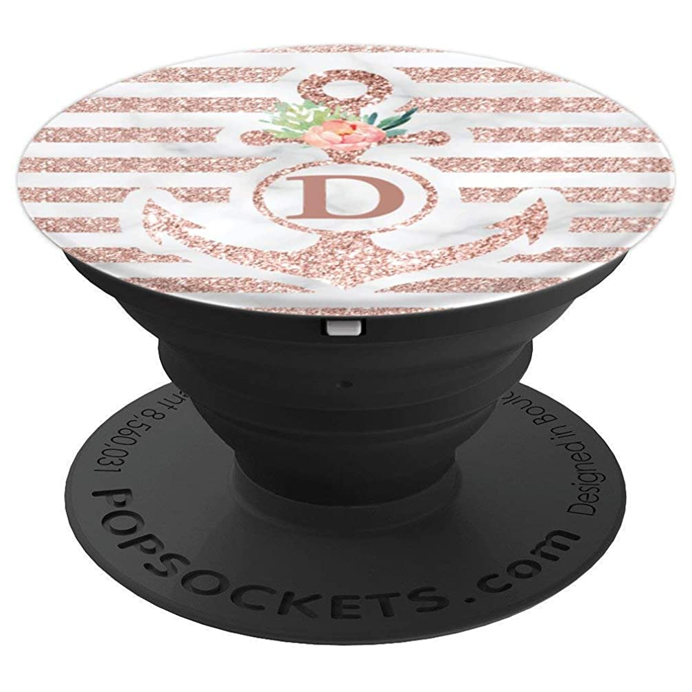 Floral Nautical Stripe Monogram Letter D Anchor - PopSockets Grip and Stand for Phones and Tablets