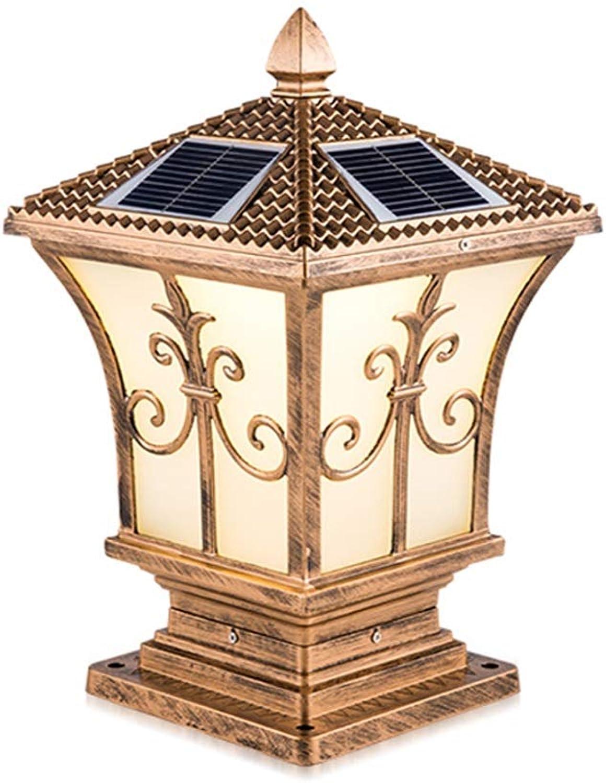 Night Lights Pillar Lamp Solar Column Head Lamp Garden Villa Carved Street Lamp Home Door Lamp Outdoor Wall Lamp Waterproof Door Post Lamp (color   gold, Size   25  55cm)