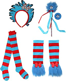 elope Dr. Seuss Thing 1&2 Glovettes, Socks, Headband, and Pom Wand Kit Bundle