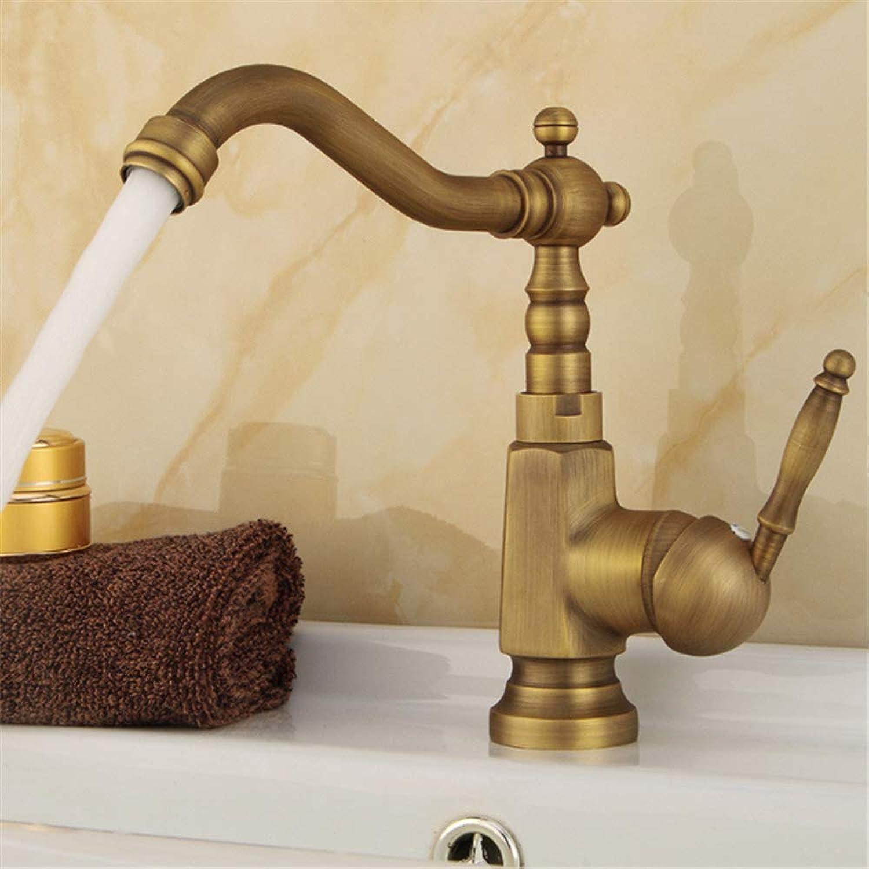 Spüle Wasserhahn Messing antik heien und kalten Wasserhahn, Einhand-Waschbecken unter Aufsatzbecken Wasserhahn drehbaren Wasserhahn