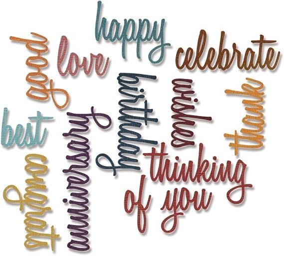 Sizzix Thinlits Die Set - Celebration Words: Script
