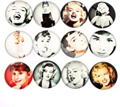 AiCheaX 20pcs Mix Audrey Hepburn Marylin Monroe Picture Round Dome Glass cabochon 20mm 25mm DIY Jewelry findings - (Size: 25mm 20pcs)