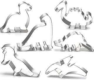 Dinosaur Cookie Cutter Set-3 Inches-6 Piece-Stegosaurus, T-Rex, Brontosaurus, Camarasaurus, Pterosaur, Baby Dinosaur Cookie Cutters molds for Kids Birthday Party Supplies Favors