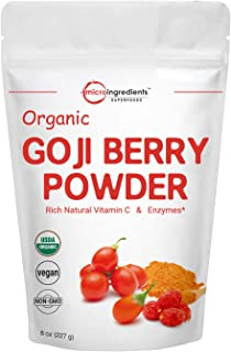 Organic Goji Berry Powder, Freeze Dried, 8 Ounce, Natural Booster for Energy, Eye Health, Immune System and Natural Antioxidant for Anti-Aging, No GMOs and Vegan Friendly