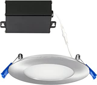 GetInLight Slim Dimmable 4 Inch LED Recessed Lighting, Round Ceiling Panel, Junction Box Included, 3000K(Soft White), 9W(45W Equivalent), 600lm, Brushed Nickel Finished, cETLus Listed, IN-0303-2-SN-30