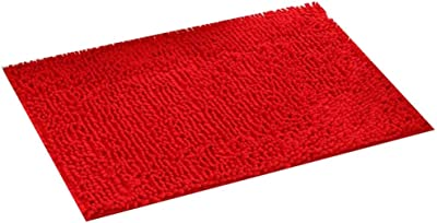 BYCDD Carpet Entrance Mat - Microfiber Floor Mat, Home Bedroom Carpet, Non-Slip mat, Machine Wash/Dry, Perfect Plush Mats for Tub, Shower, Bath Room (red),50x 80CM