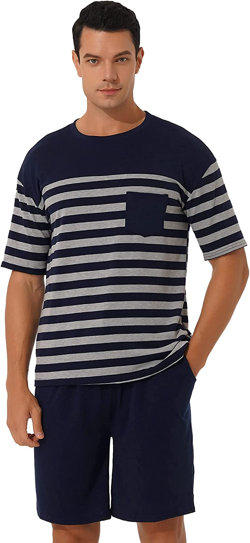 MSemis Men's Striped Short Sleeve Pajama Set Summer Pj Short Set 2 Pcs Loungewear Sleepwear with Drawstring Pockets