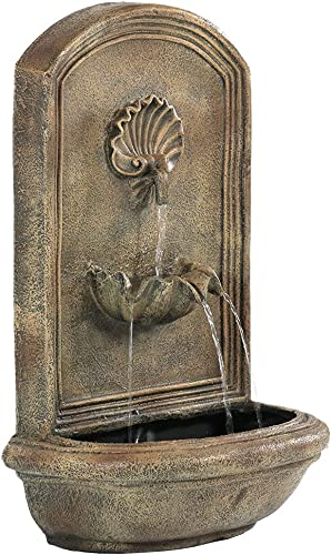 new arrival Sunnydaze Seaside Outdoor Wall Water Fountain - Waterfall Wall Mounted Fountain & Backyard 2021 Water Feature online sale with Electric Submersible Pump - Florentine Stone Finish - 27 Inch outlet online sale