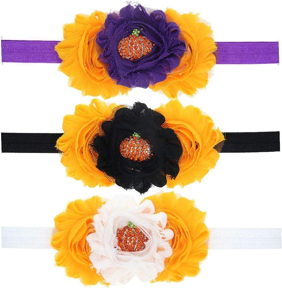 3pcs/Set Newborn Baby fall season gift Cute headbands gift Halloween Pumpkin Headdress Elastic Hair Band Accessories(WSJ10)