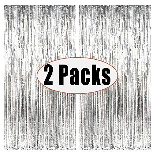 Quaste Folie Vorhang Metallic,Folie Fransen Vorhänge Tür, Lametta Vorhang dekorative,Für die Partyhochzeit Dekoration (Silber)
