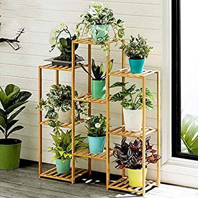 Multi-Tier Bamboo Plant Stand Planter Rack Flow...