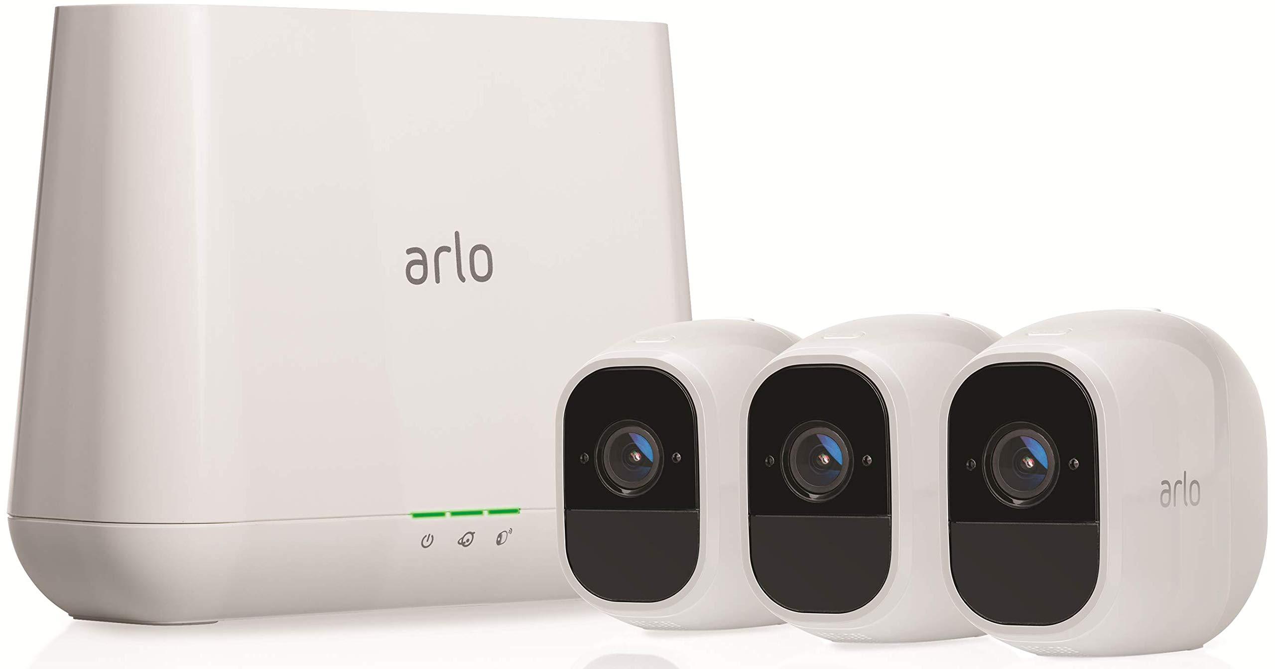Arlo Pro 2 VMS4330P-100EUS - Sistema de seguridad y vídeo vigilancia de 3 cámaras sin cables 1080p HD (recargable, interior/exterior, visión nocturna, audio ...