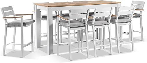 Balmoral 2M Aluminium Bar Table with 8 Capri Bar Stools - White Aluminium, White Aluminium - Outdoor Aluminium Dining Sett...