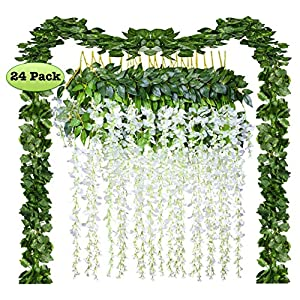 24 Pack Artificial Fake Wisteria Vine Rattan Hanging Garland Silk Flowers String and Ivy Leaf Foliage for Home Kitchen Garden Office Wedding Wall Decor