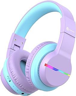 iClever Bluetooth kinderhoofdtelefoon, gekleurde ledlampen, kinderhoofdtelefoon, over-ear met 74/85/94dB volumebegrenzing,...