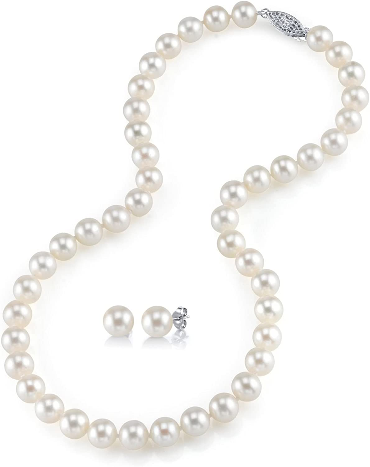 THE PEARL SOURCE 14K Gold 8-9mm Round White Freshwater Cultured Pearl Necklace & Earrings Set in 20