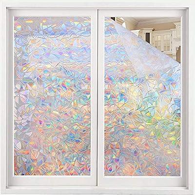 Volcanics Window Privacy Film Static Window Clings Vinyl 3D Window Decals Window Stickers Rainbow Window Film for Glass Door Home Heat Control Anti UV 16.9 x 78.7 Inches