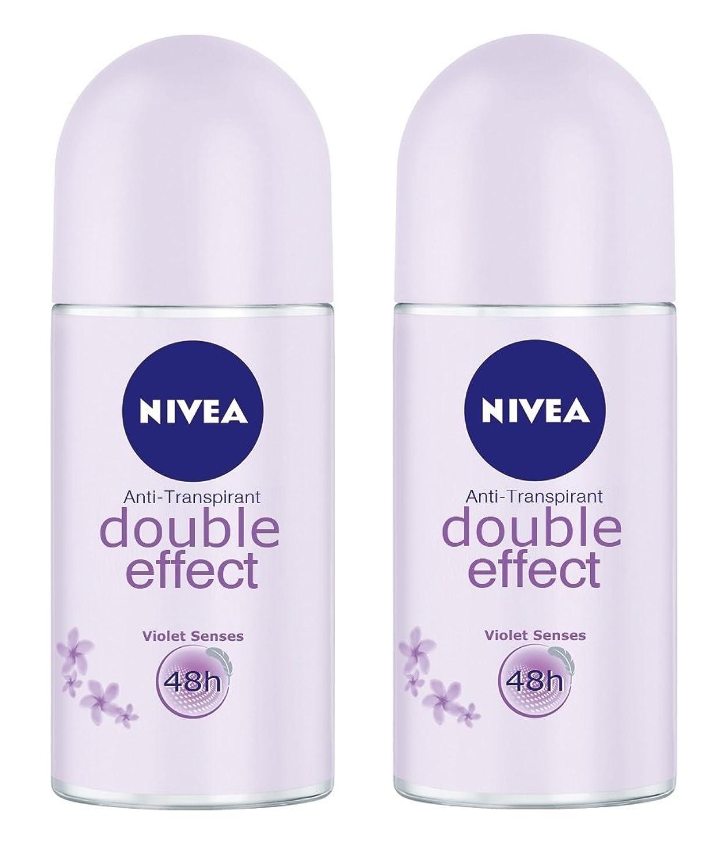 祈りびっくり正当な(Pack of 2) Nivea Double Effect (Violet Senses) Anti-perspirant Deodorant Roll On for Women 2x50ml - (2パック) ニベアダブル効果(バイオレット感覚) 制汗剤デオドラントロールオン女性のための2x50ml