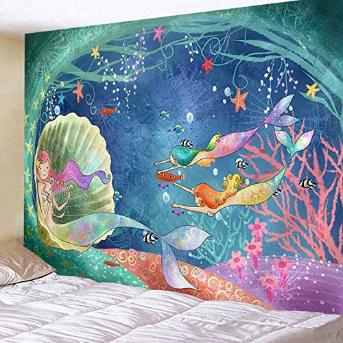 KHKJ Tapiz Colgante de Pared Colcha de Cama Toalla de Playa Mantel Estera de Yoga Decoración del hogar Diseño de Sirena A4 200x150cm