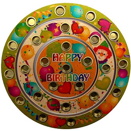 Hess Holzspielzeug 15643 - Geburtstagsring aus Holz für 26 Kerzen, Happy Birthday, handgefertigt, Durchmesser ca. 22 cm, als Dekoration für den Geburtstagstisch
