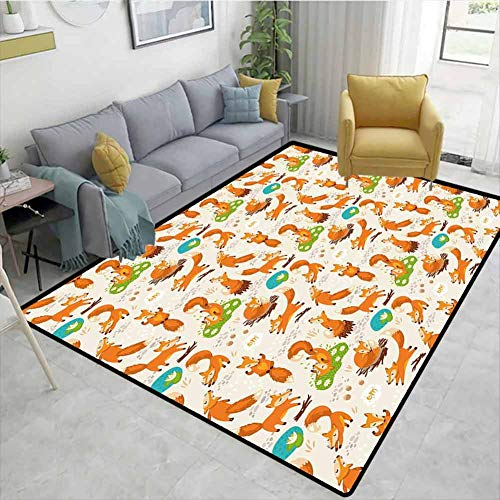 Geometric Door Mats Area Rug, Flexing and Stretching Fox Meditation Cute Little Cartoon Animals Dotted Background, Fashionable High Class Living Bedroom Rugs(8'x 10')