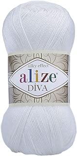 Hand Knitting Yarn 100% Microfiber Acrylic Yarn Alize Diva Silk Effect Thread Crochet Art Lace Craft Lot of 4 skeins 400gr 1532yds Color 55 White