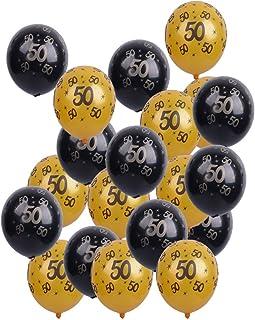 MagiDeal 20 Piezas Negro Dorado Globo de Látex para Cumpleaños Aniverario Decoración de Fiesta Letras Dorado Atrezo de Foto - 50