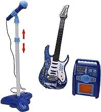 iVansa Rock Guitarra con Cuerdas de Acero, con Amplificadores y Soporte Ajustable y Micrófono - Guitarra Rock para Niños - Guitarra para Juguetes Instrumento Musical Infantil