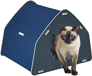 Hi Animal Removable Cat House and Indoor Pet Condos - Semi-Enclosed Cat Bed for Cats or Small Dogs PP Cotton Cushion for Additional Warmth and Comfort